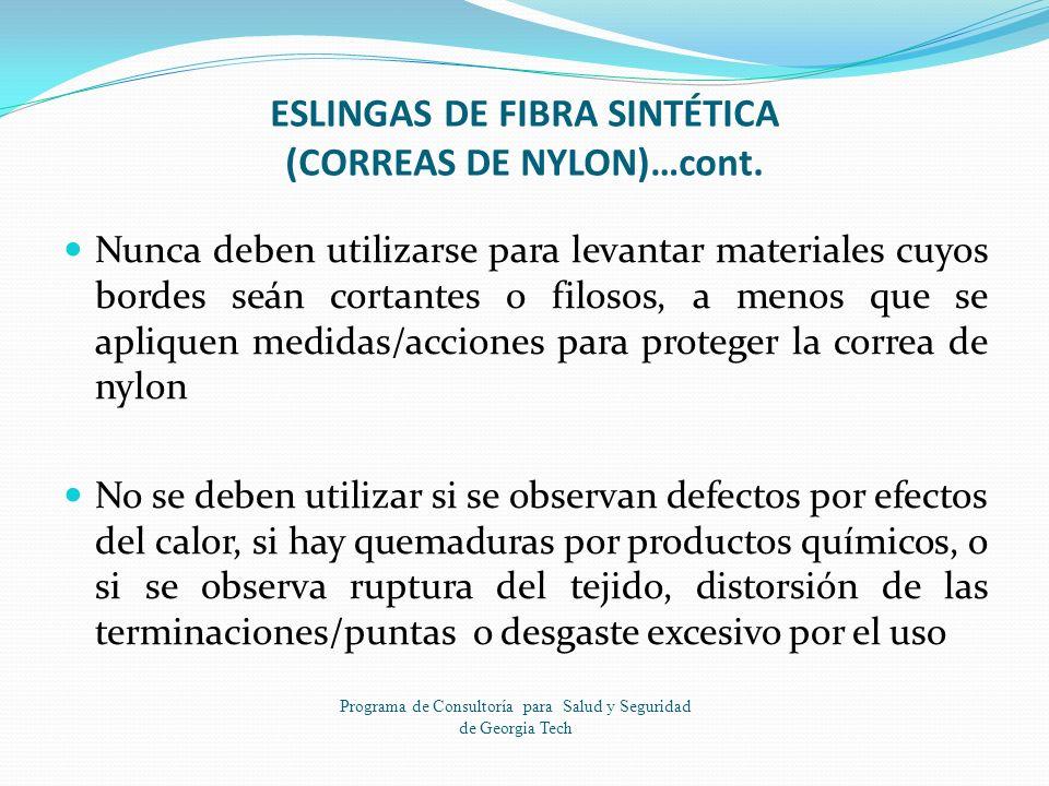ESLINGAS DE FIBRA SINTÉTICA (CORREAS DE NYLON)…cont.