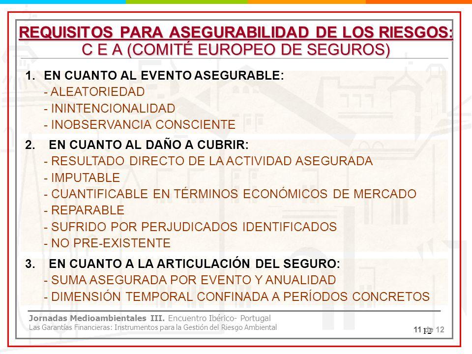 REQUISITOS PARA ASEGURABILIDAD DE LOS RIESGOS: C E A (COMITÉ EUROPEO DE SEGUROS)