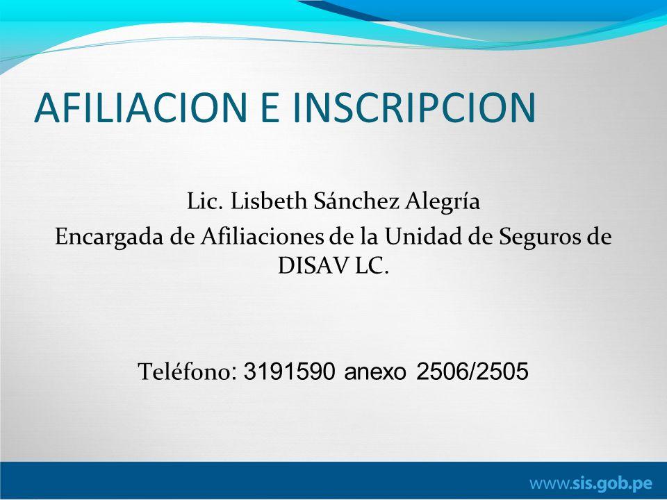 AFILIACION E INSCRIPCION