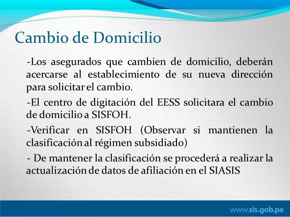 Cambio de Domicilio -Los asegurados que cambien de domicilio, deberán acercarse al establecimiento de su nueva dirección para solicitar el cambio.