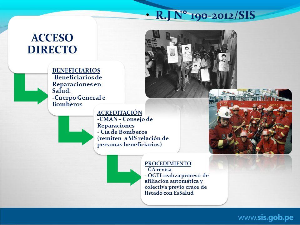 R.J N° 190-2012/SIS ACCESO DIRECTO