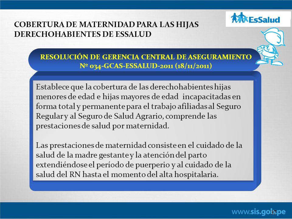 COBERTURA DE MATERNIDAD PARA LAS HIJAS DERECHOHABIENTES DE ESSALUD