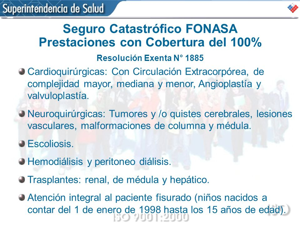 Seguro Catastrófico FONASA Prestaciones con Cobertura del 100% Resolución Exenta N° 1885