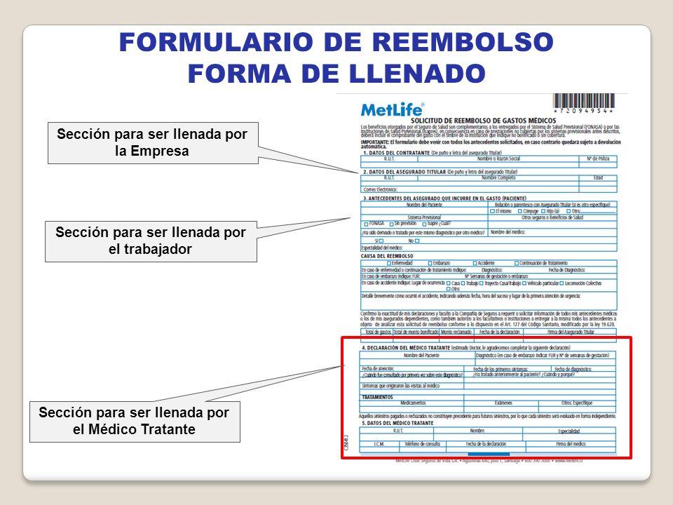 FORMULARIO DE REEMBOLSO FORMA DE LLENADO