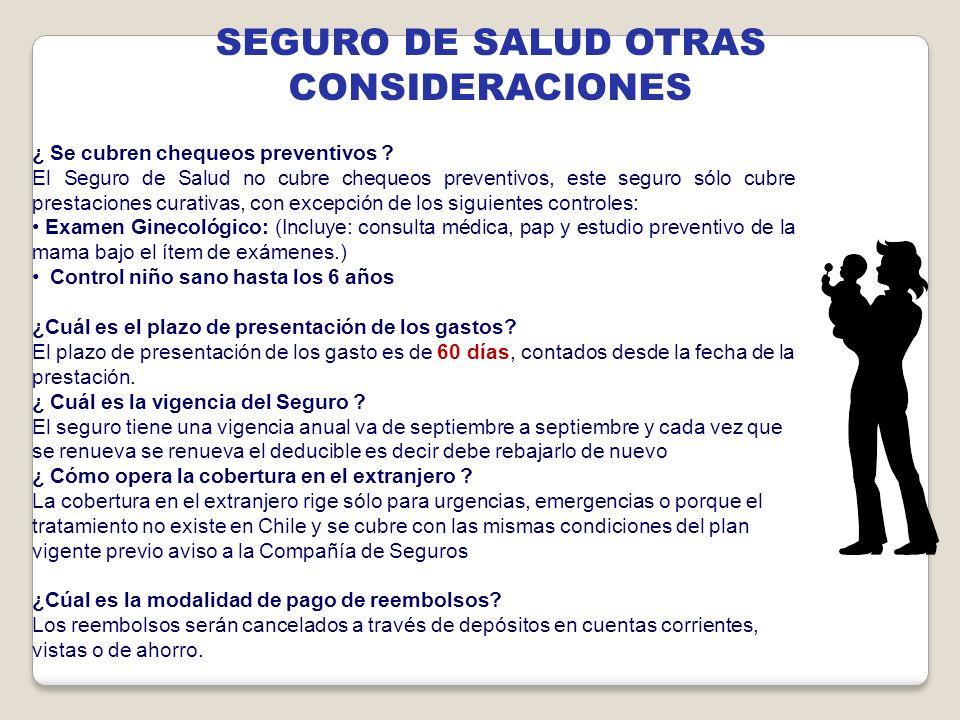SEGURO DE SALUD OTRAS CONSIDERACIONES