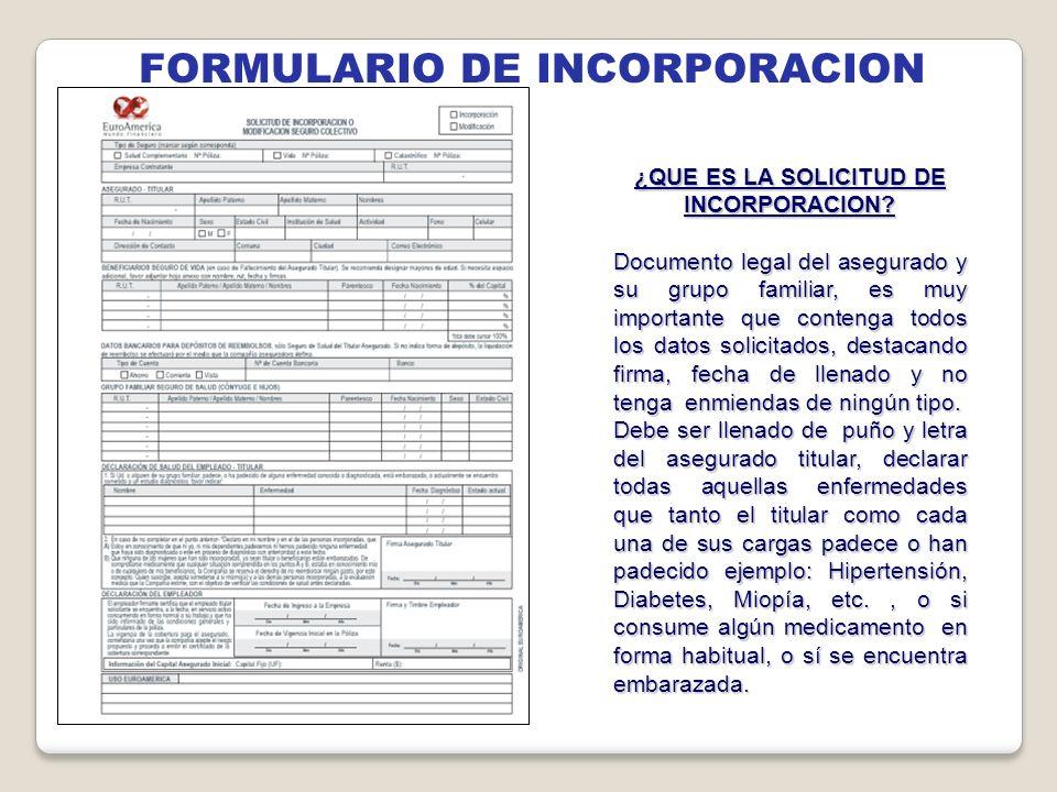 FORMULARIO DE INCORPORACION ¿QUE ES LA SOLICITUD DE INCORPORACION