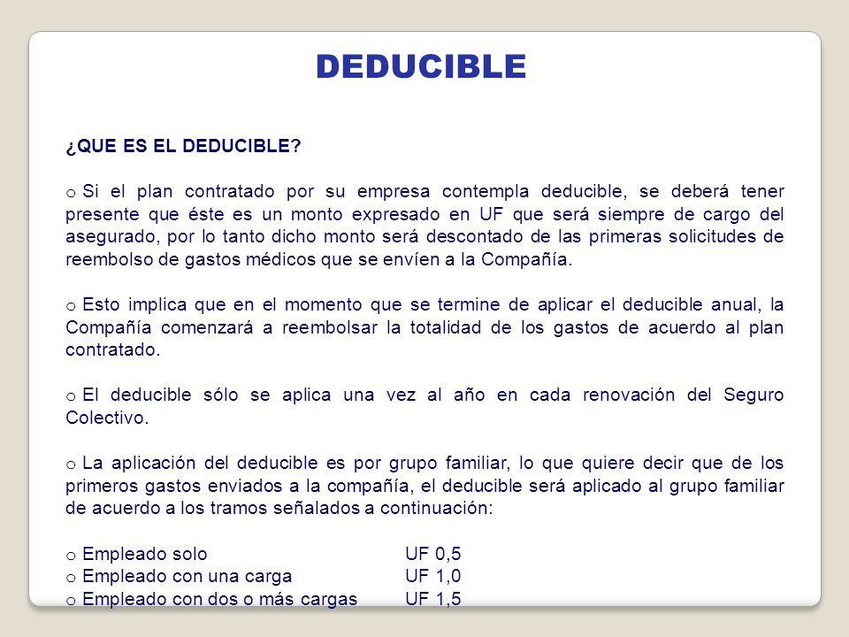 DEDUCIBLE ¿QUE ES EL DEDUCIBLE