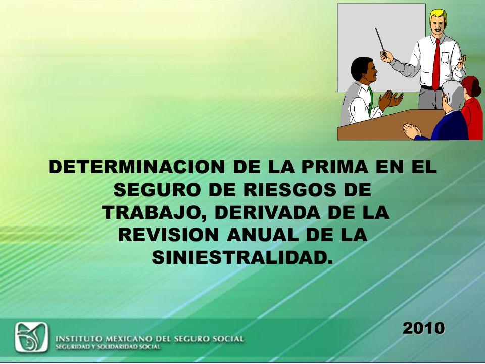 DETERMINACION DE LA PRIMA EN EL SEGURO DE RIESGOS DE TRABAJO, DERIVADA DE LA REVISION ANUAL DE LA SINIESTRALIDAD.