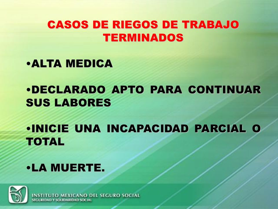 CASOS DE RIEGOS DE TRABAJO TERMINADOS