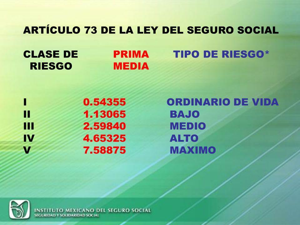 ARTÍCULO 73 DE LA LEY DEL SEGURO SOCIAL