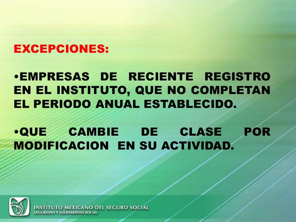 EXCEPCIONES: EMPRESAS DE RECIENTE REGISTRO EN EL INSTITUTO, QUE NO COMPLETAN EL PERIODO ANUAL ESTABLECIDO.