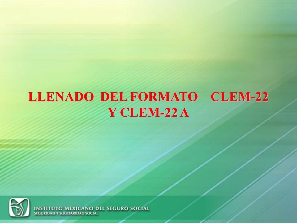 LLENADO DEL FORMATO CLEM-22 Y CLEM-22 A