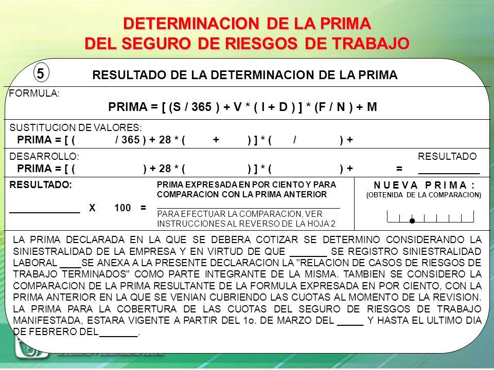 . DETERMINACION DE LA PRIMA DEL SEGURO DE RIESGOS DE TRABAJO 5