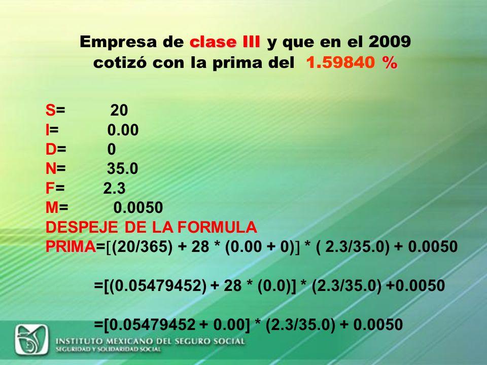 Empresa de clase III y que en el 2009 cotizó con la prima del 1