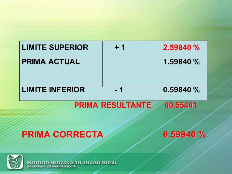 PRIMA RESULTANTE 00.55401 PRIMA CORRECTA 0.59840 %