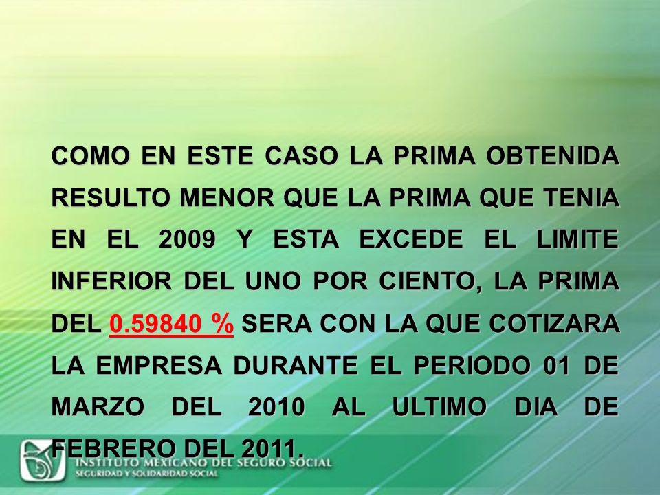 COMO EN ESTE CASO LA PRIMA OBTENIDA RESULTO MENOR QUE LA PRIMA QUE TENIA EN EL 2009 Y ESTA EXCEDE EL LIMITE INFERIOR DEL UNO POR CIENTO, LA PRIMA DEL 0.59840 % SERA CON LA QUE COTIZARA LA EMPRESA DURANTE EL PERIODO 01 DE MARZO DEL 2010 AL ULTIMO DIA DE FEBRERO DEL 2011.