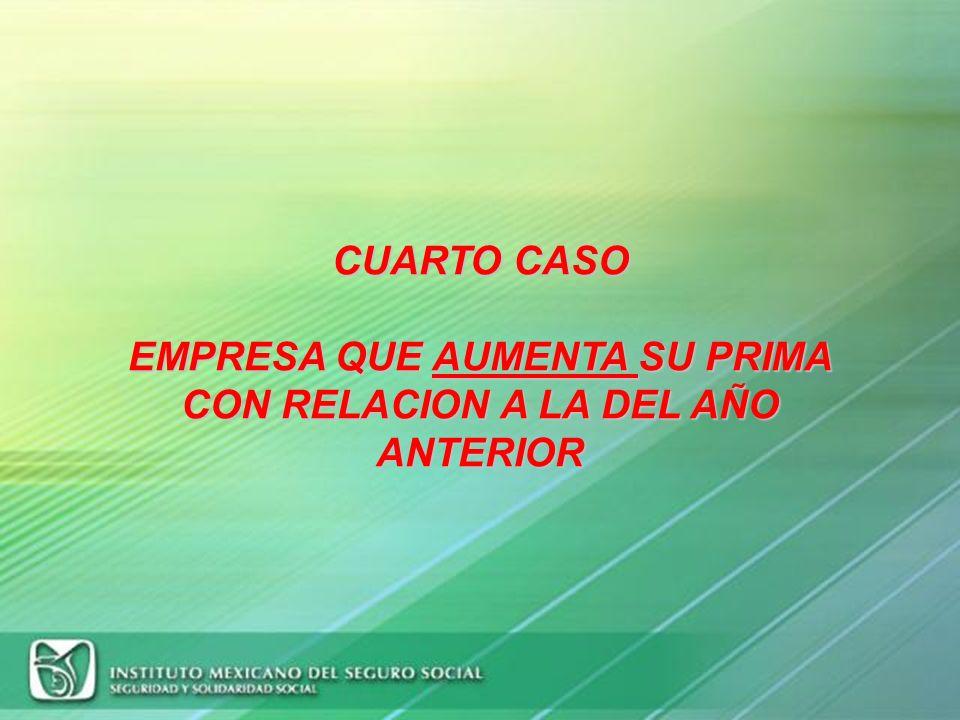 CUARTO CASO EMPRESA QUE AUMENTA SU PRIMA CON RELACION A LA DEL AÑO ANTERIOR