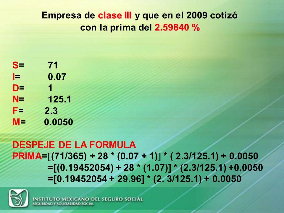 Empresa de clase III y que en el 2009 cotizó con la prima del 2