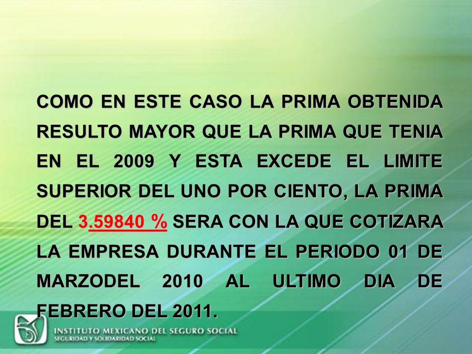 COMO EN ESTE CASO LA PRIMA OBTENIDA RESULTO MAYOR QUE LA PRIMA QUE TENIA EN EL 2009 Y ESTA EXCEDE EL LIMITE SUPERIOR DEL UNO POR CIENTO, LA PRIMA DEL 3.59840 % SERA CON LA QUE COTIZARA LA EMPRESA DURANTE EL PERIODO 01 DE MARZODEL 2010 AL ULTIMO DIA DE FEBRERO DEL 2011.