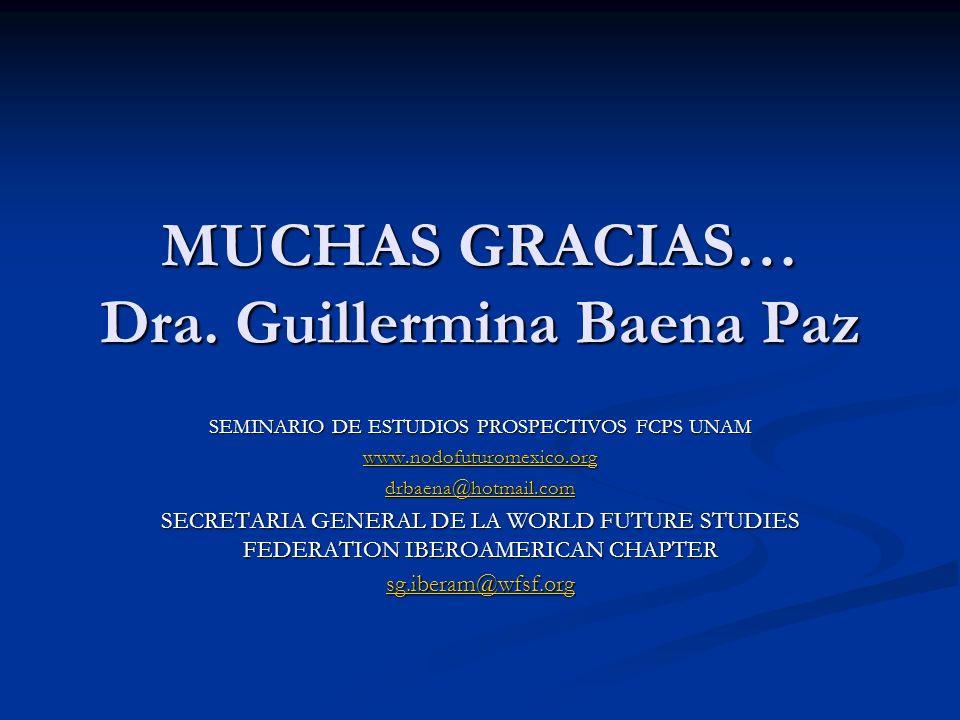 MUCHAS GRACIAS… Dra. Guillermina Baena Paz