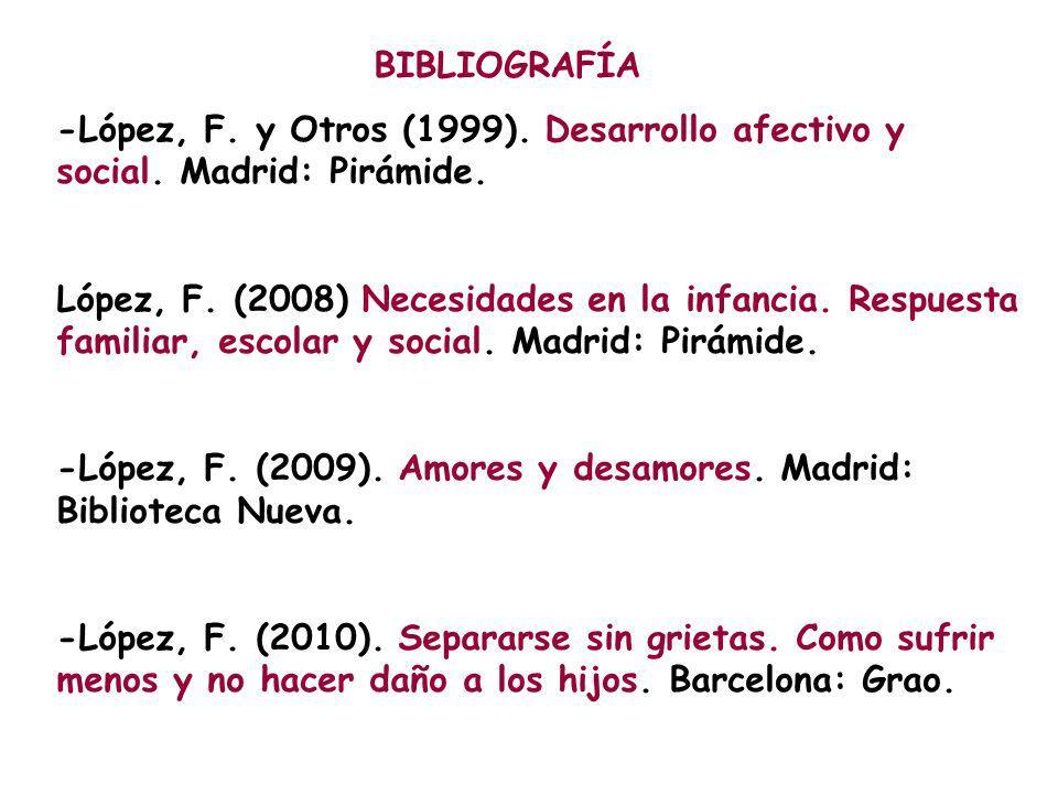BIBLIOGRAFÍA -López, F. y Otros (1999). Desarrollo afectivo y social. Madrid: Pirámide.