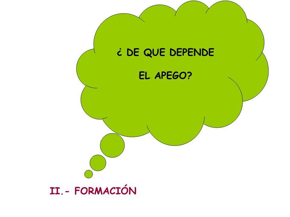 ¿ DE QUE DEPENDE EL APEGO II.- FORMACIÓN