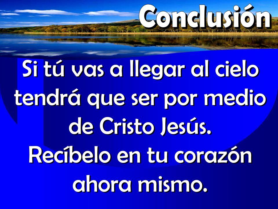 Conclusión Si tú vas a llegar al cielo tendrá que ser por medio de Cristo Jesús.