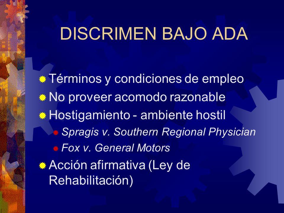DISCRIMEN BAJO ADA Términos y condiciones de empleo