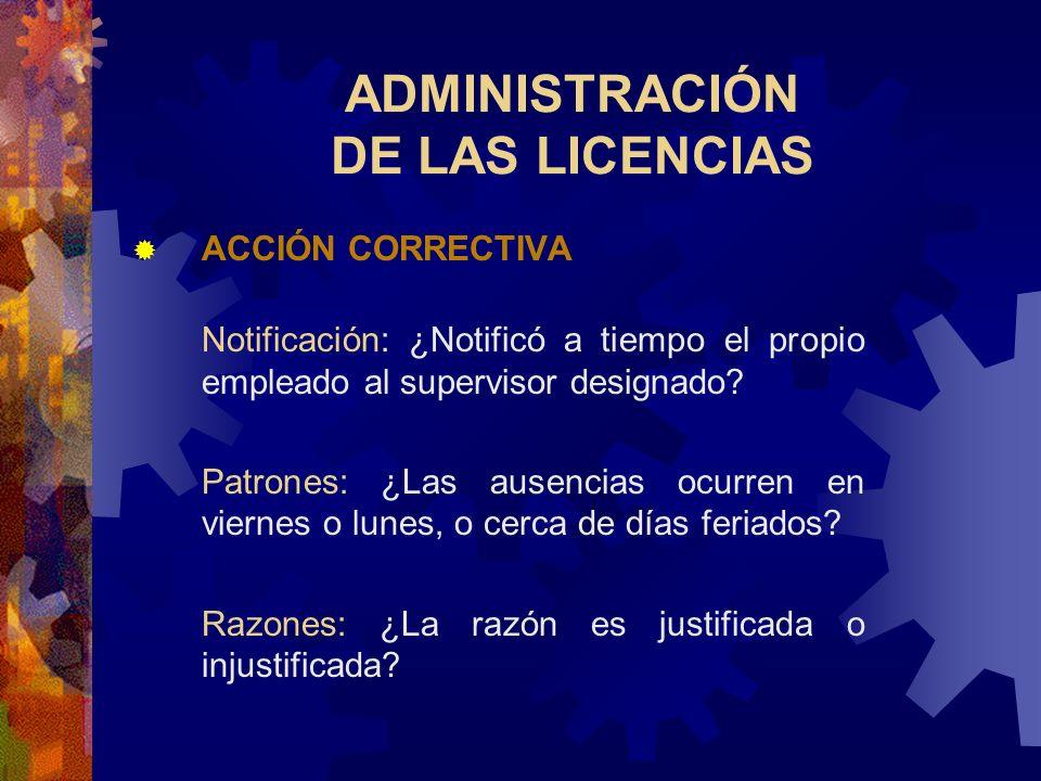 ADMINISTRACIÓN DE LAS LICENCIAS