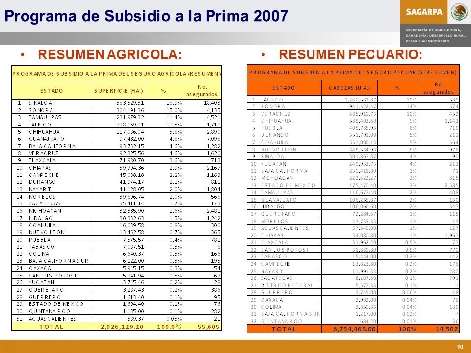Programa de Subsidio a la Prima 2007