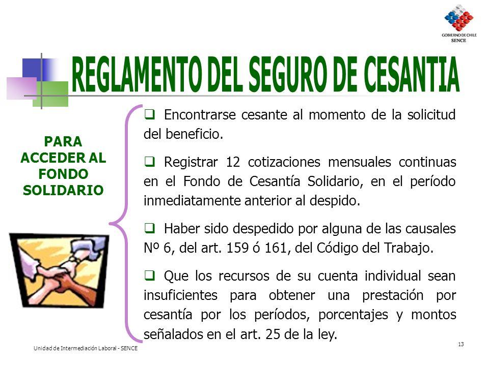 REGLAMENTO DEL SEGURO DE CESANTIA PARA ACCEDER AL FONDO SOLIDARIO