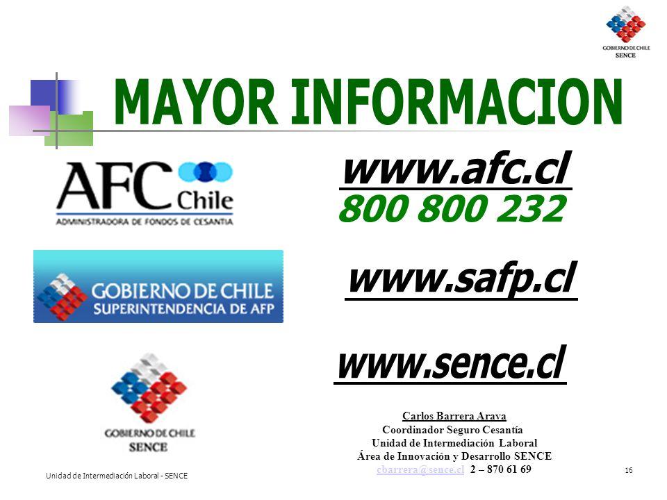 MAYOR INFORMACION www.afc.cl 800 800 232 www.safp.cl www.sence.cl