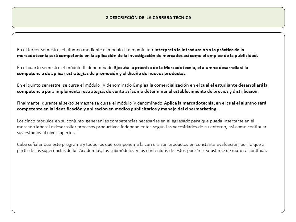 2 DESCRIPCIÓN DE LA CARRERA TÉCNICA