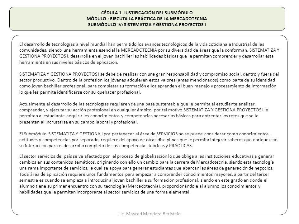 CÉDULA 1 JUSTIFICACIÓN DEL SUBMÓDULO