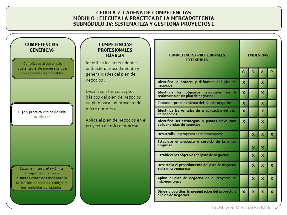CÉDULA 2 CADENA DE COMPETENCIAS