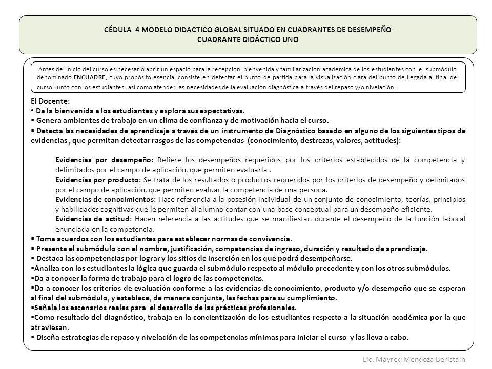 CÉDULA 4 MODELO DIDACTICO GLOBAL SITUADO EN CUADRANTES DE DESEMPEÑO
