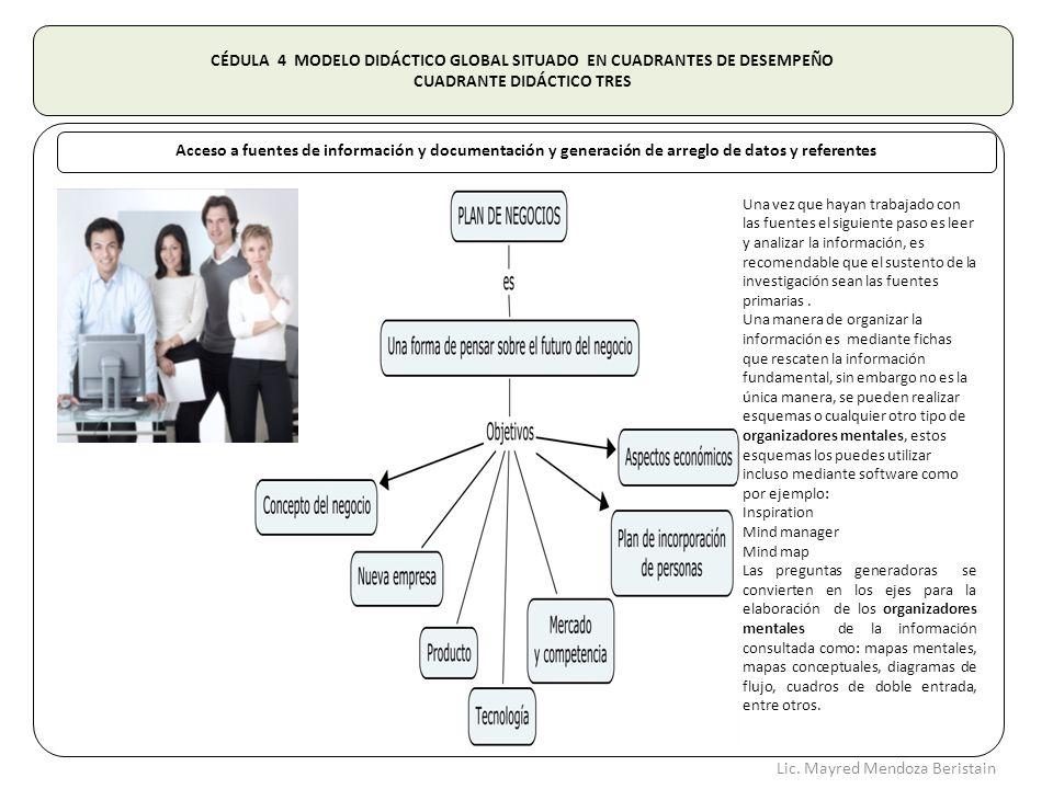 CÉDULA 4 MODELO DIDÁCTICO GLOBAL SITUADO EN CUADRANTES DE DESEMPEÑO