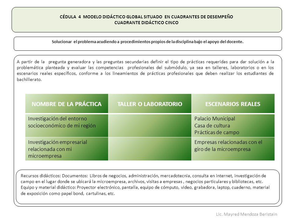 NOMBRE DE LA PRÁCTICA TALLER O LABORATORIO ESCENARIOS REALES