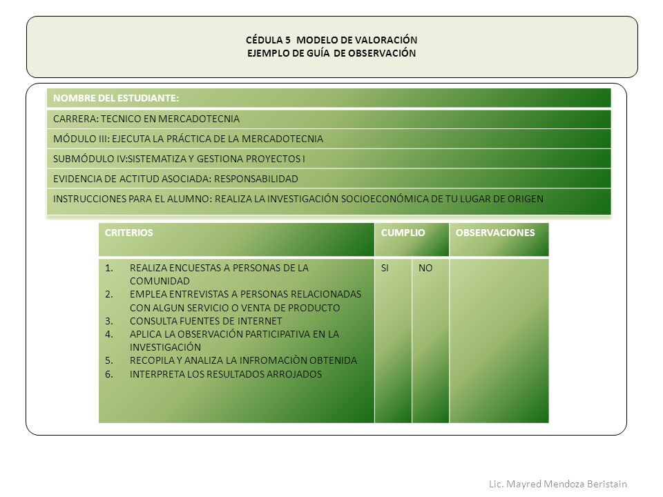 CÉDULA 5 MODELO DE VALORACIÓN EJEMPLO DE GUÍA DE OBSERVACIÓN