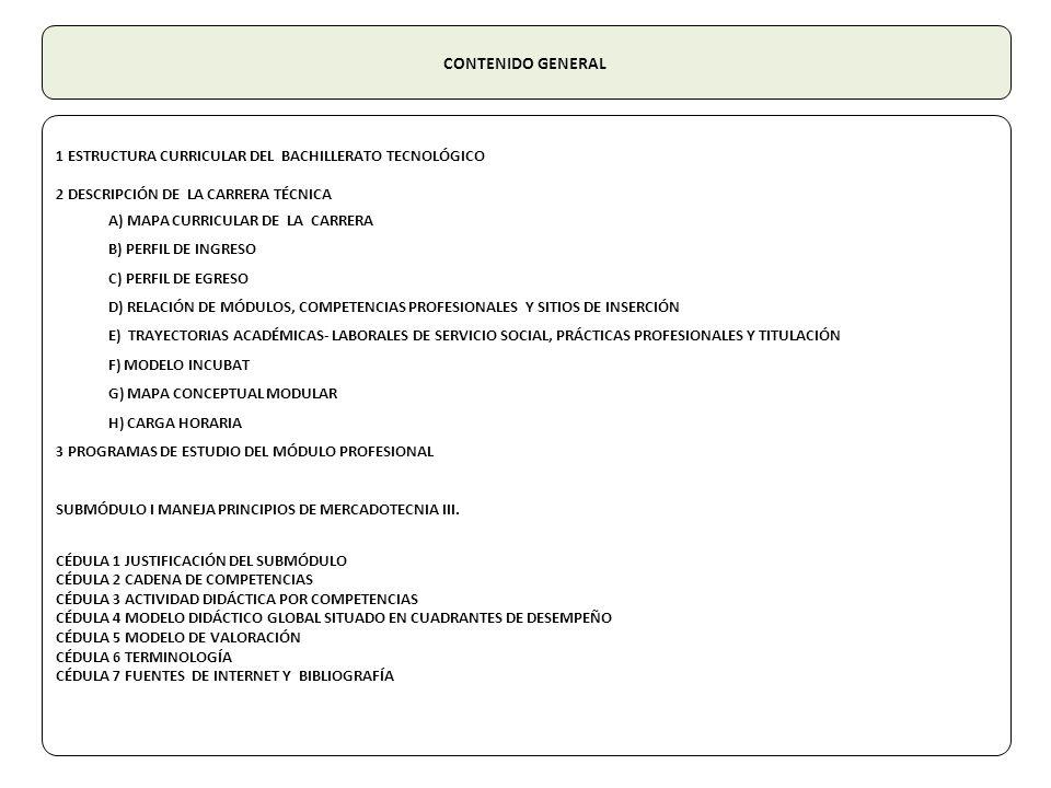 CONTENIDO GENERAL 1 ESTRUCTURA CURRICULAR DEL BACHILLERATO TECNOLÓGICO