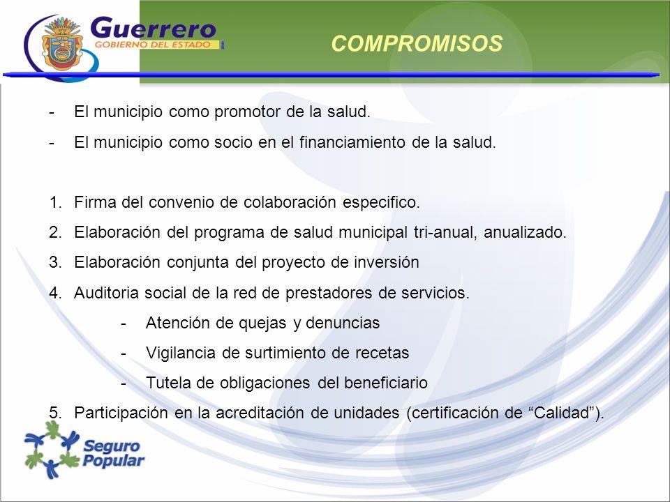COMPROMISOS El municipio como promotor de la salud.