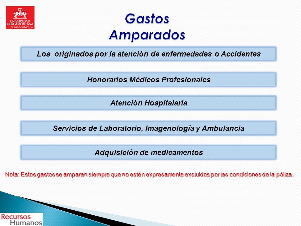 Gastos Amparados Los originados por la atención de enfermedades o Accidentes. Honorarios Médicos Profesionales.
