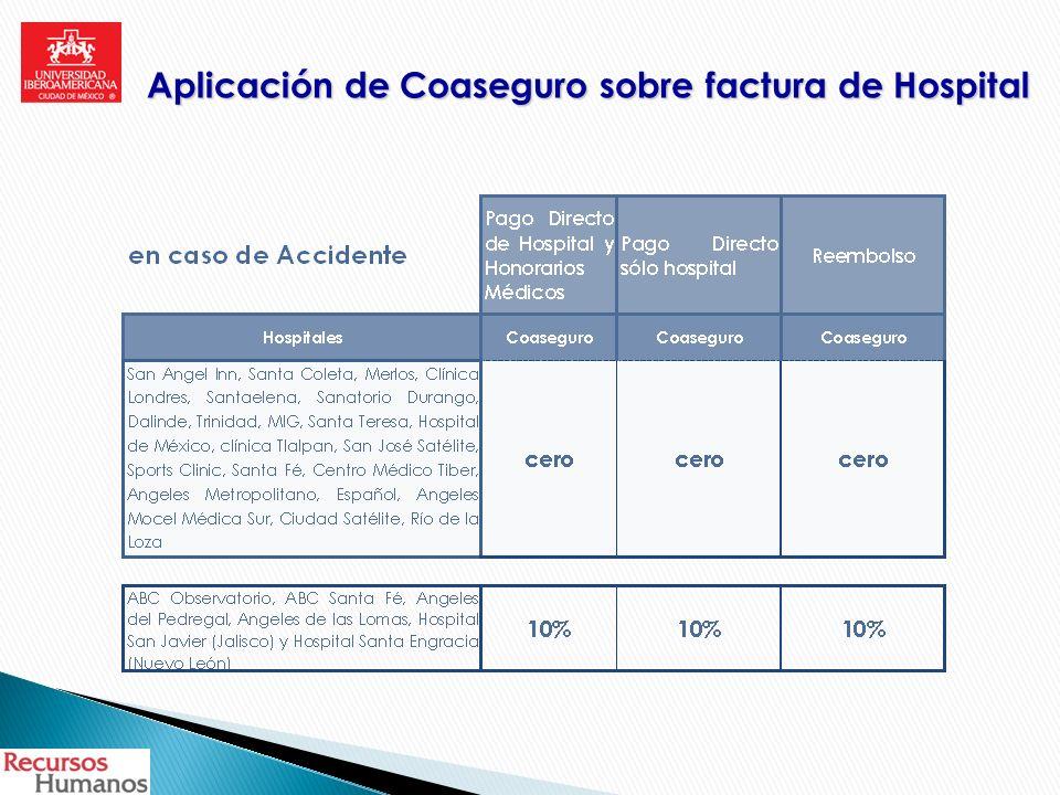Aplicación de Coaseguro sobre factura de Hospital