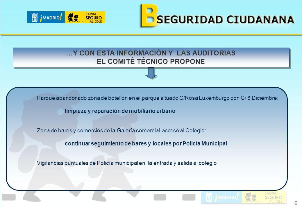 …Y CON ESTA INFORMACIÓN Y LAS AUDITORIAS EL COMITÉ TÉCNICO PROPONE