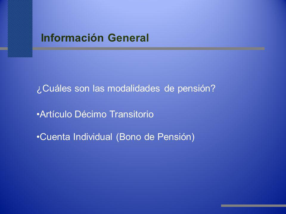 Información General ¿Cuáles son las modalidades de pensión