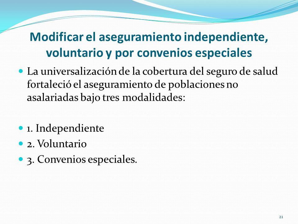 Modificar el aseguramiento independiente, voluntario y por convenios especiales