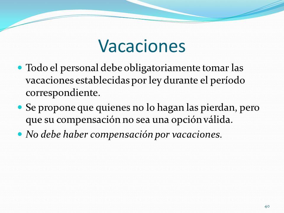 Vacaciones Todo el personal debe obligatoriamente tomar las vacaciones establecidas por ley durante el período correspondiente.