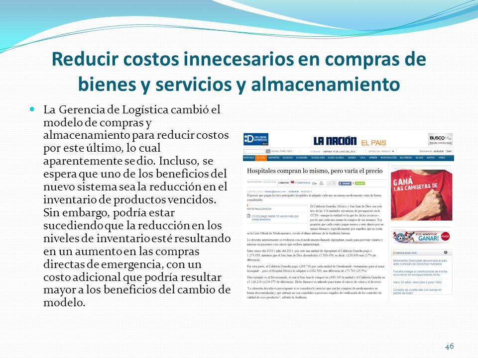 Reducir costos innecesarios en compras de bienes y servicios y almacenamiento