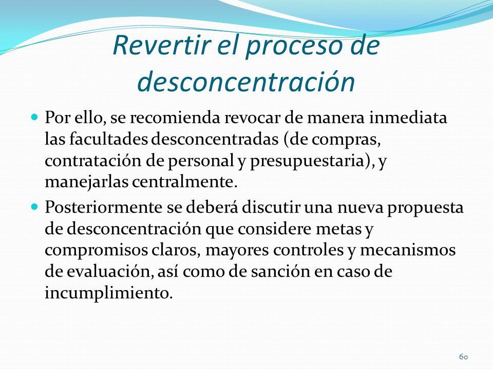 Revertir el proceso de desconcentración