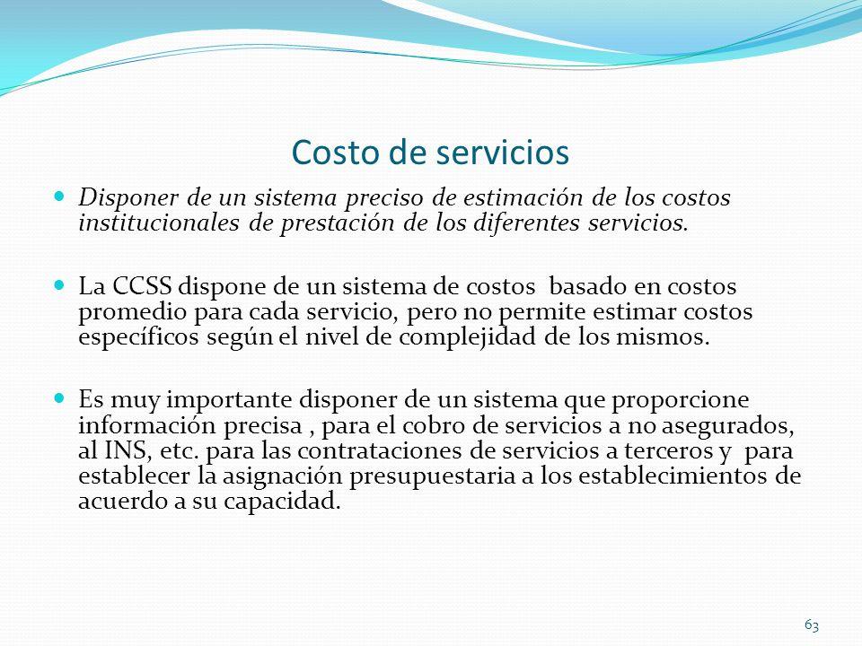 Costo de servicios Disponer de un sistema preciso de estimación de los costos institucionales de prestación de los diferentes servicios.